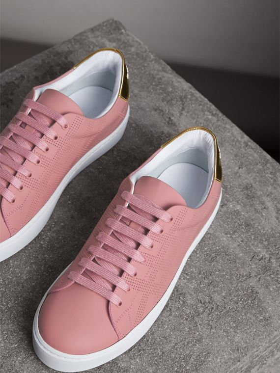 Perforated Check Leather Trainers in Rose Pink - Women | Burberry Australia - cell image 3