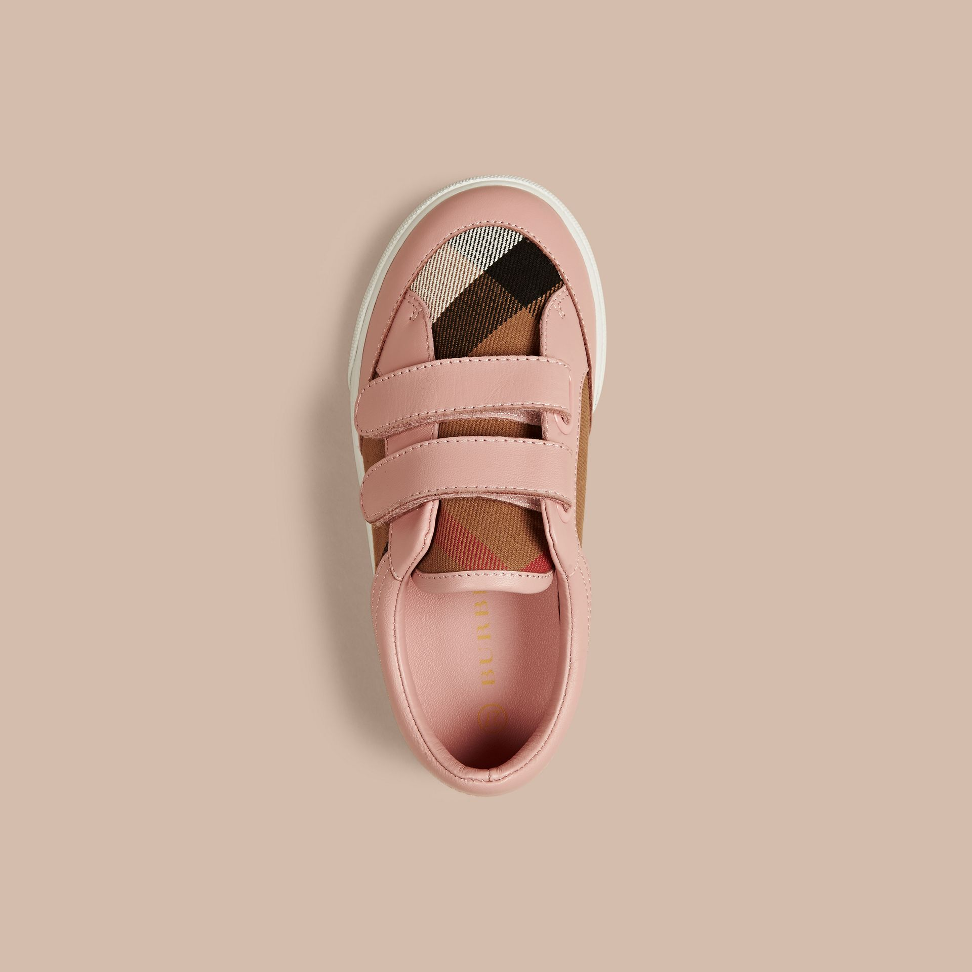 House Check and Leather Trainers in Nude Blush - Girl | Burberry - gallery image 2