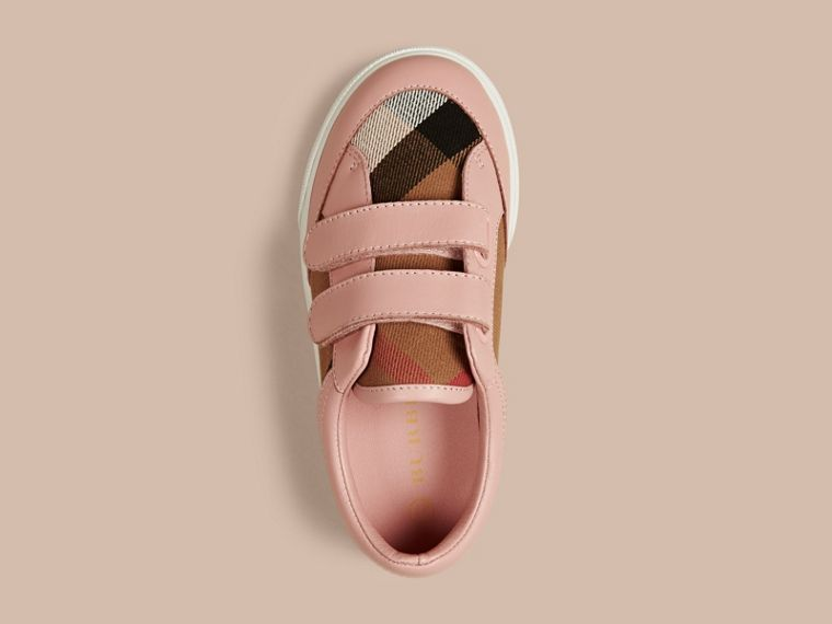 House Check and Leather Trainers in Nude Blush - Girl | Burberry - cell image 1