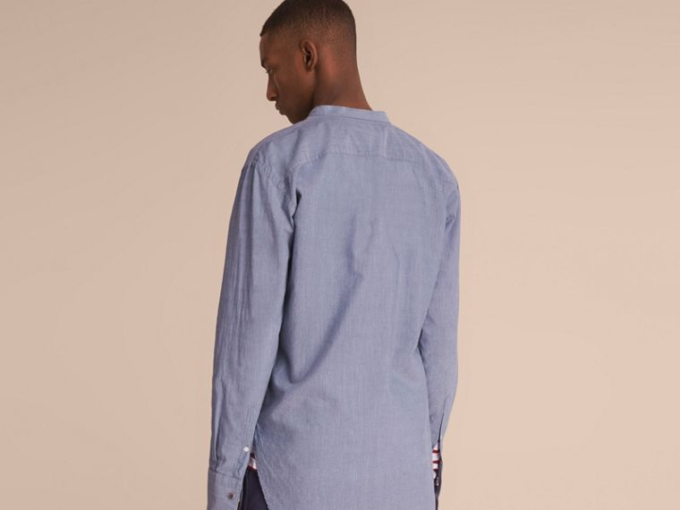 Grandad Collar Pleated Bib Cotton Shirt - cell image 1