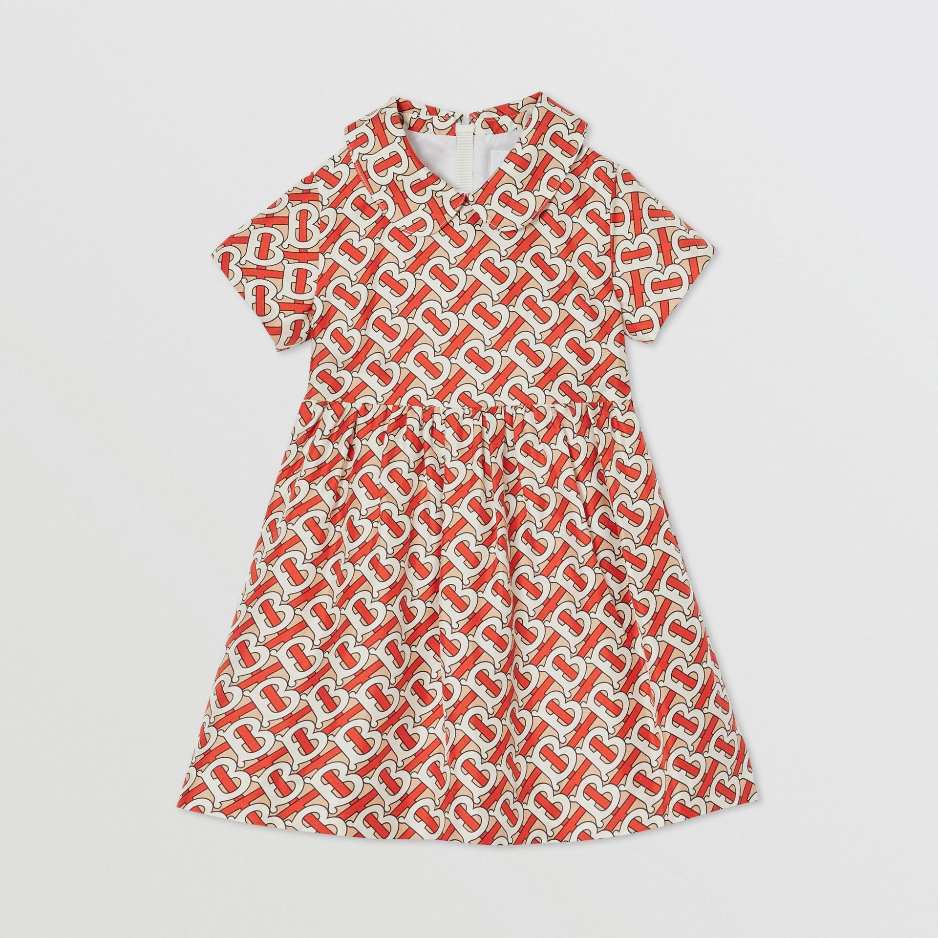 Peter Pan Collar Monogram Print Silk Dress in Vermilion Red - Children   Burberry - gallery image 0