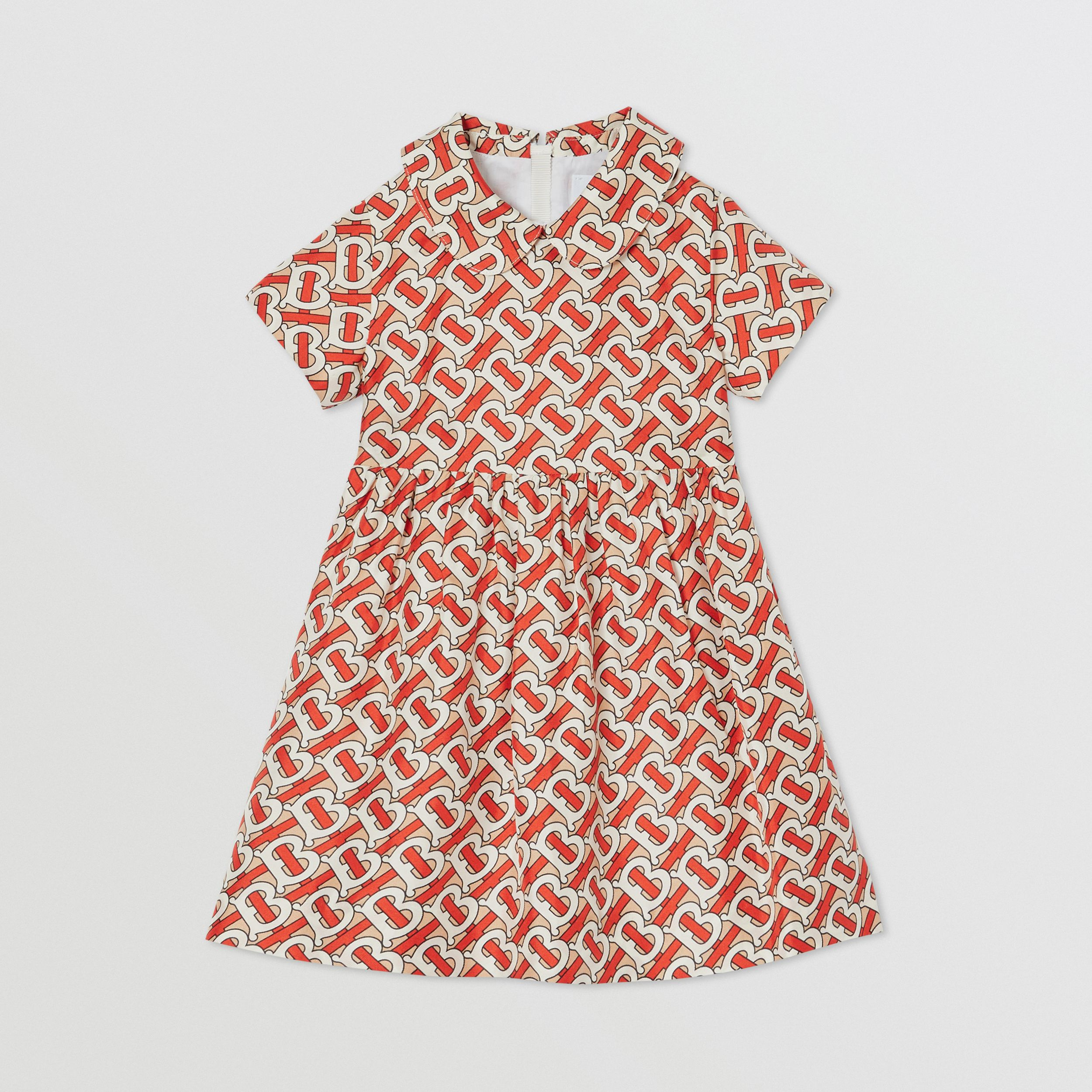 Peter Pan Collar Monogram Print Silk Dress in Vermilion Red - Children | Burberry - 1