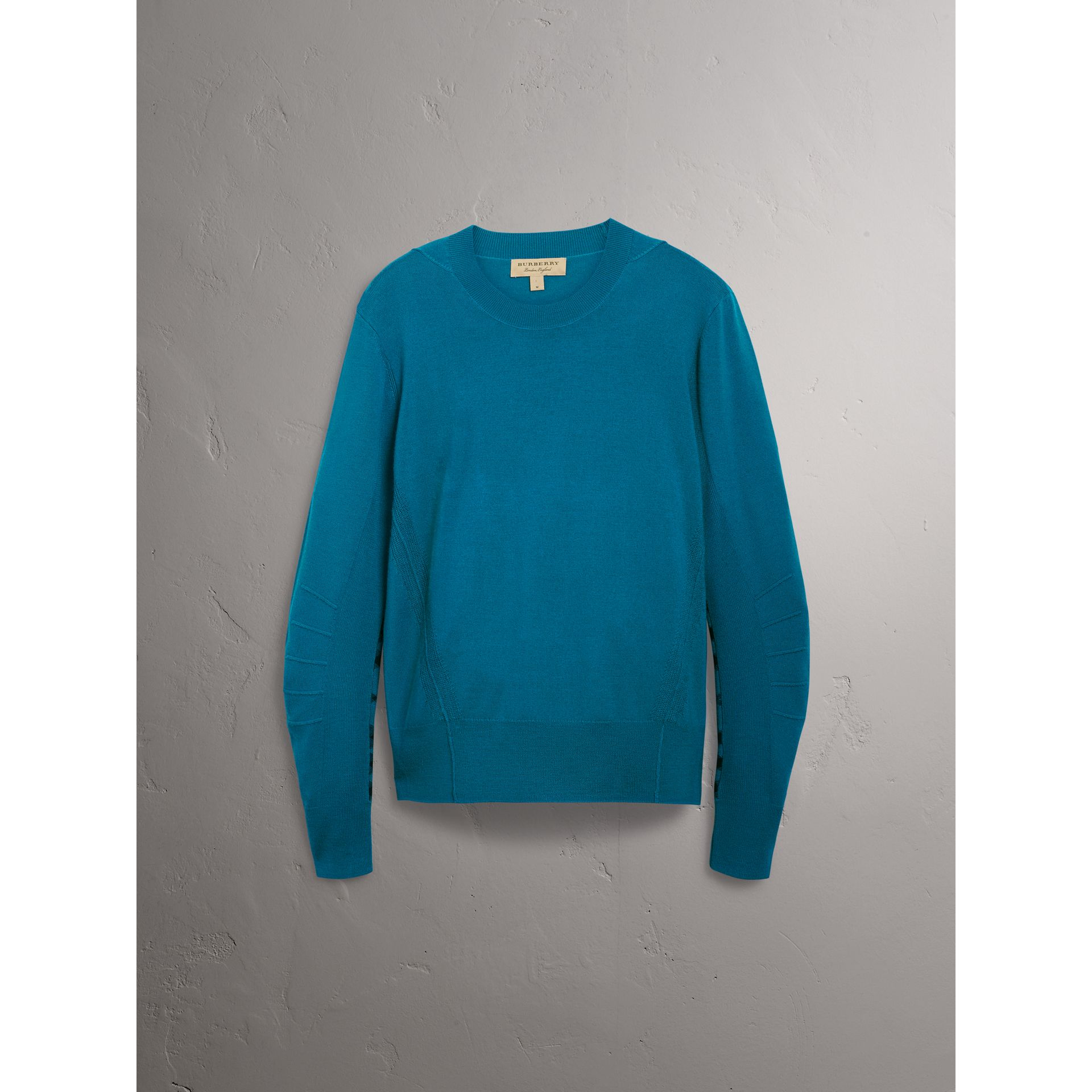 Check Detail Merino Wool Sweater in Mineral Blue - Men | Burberry - gallery image 3