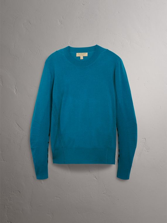 Check Detail Merino Wool Sweater in Mineral Blue - Men | Burberry Australia - cell image 3