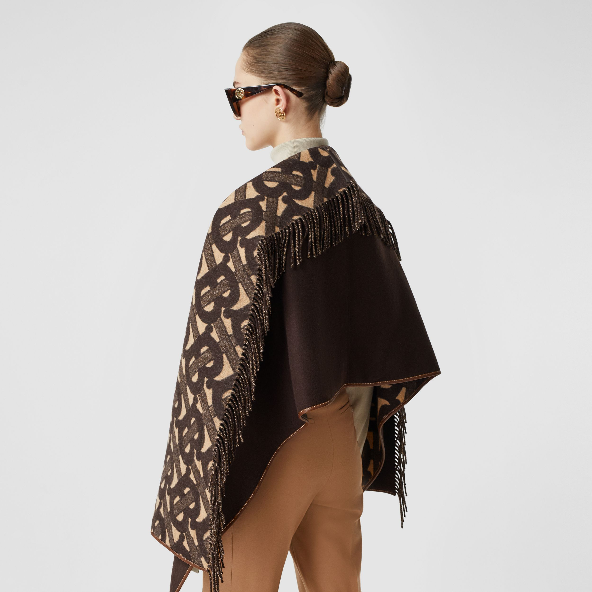 Monogram Merino Wool Cashmere Jacquard Cape in Deep Brown - Women | Burberry - 3