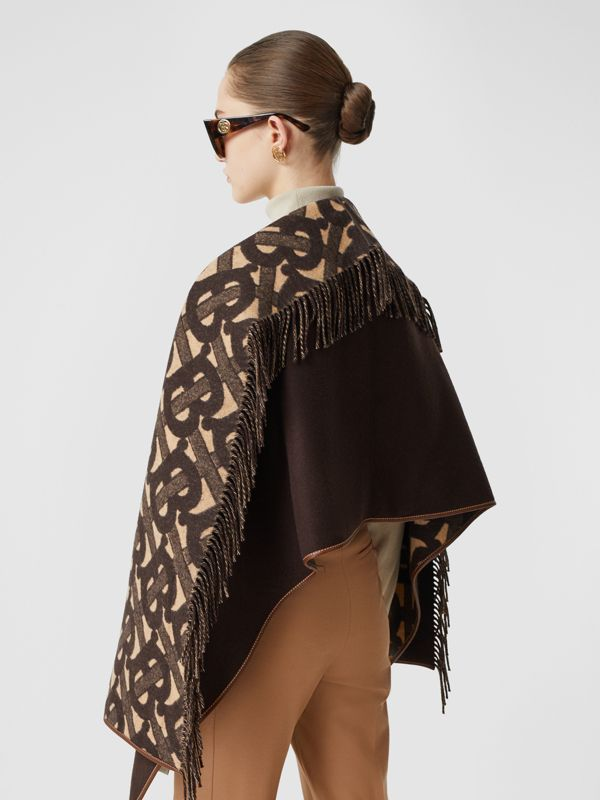 Monogram Merino Wool Cashmere Jacquard Cape in Deep Brown - Women | Burberry United Kingdom - cell image 2