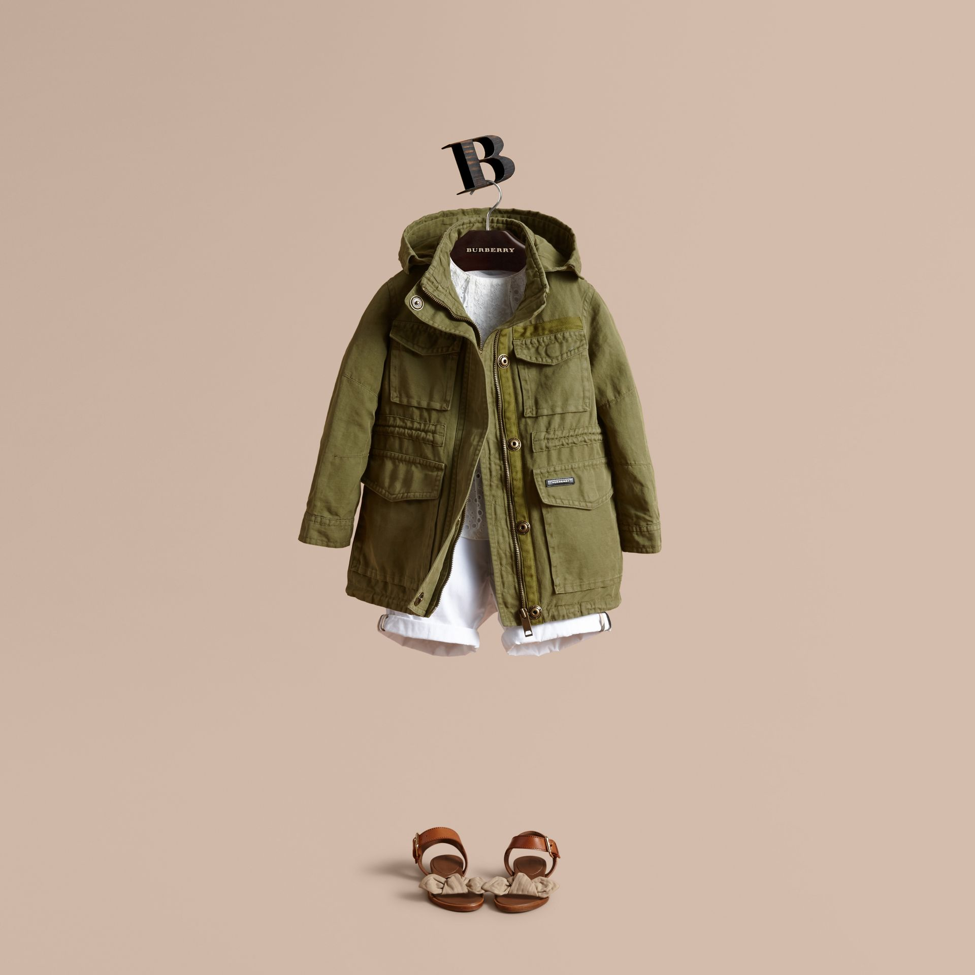 Hooded Cotton Linen Parka - gallery image 1