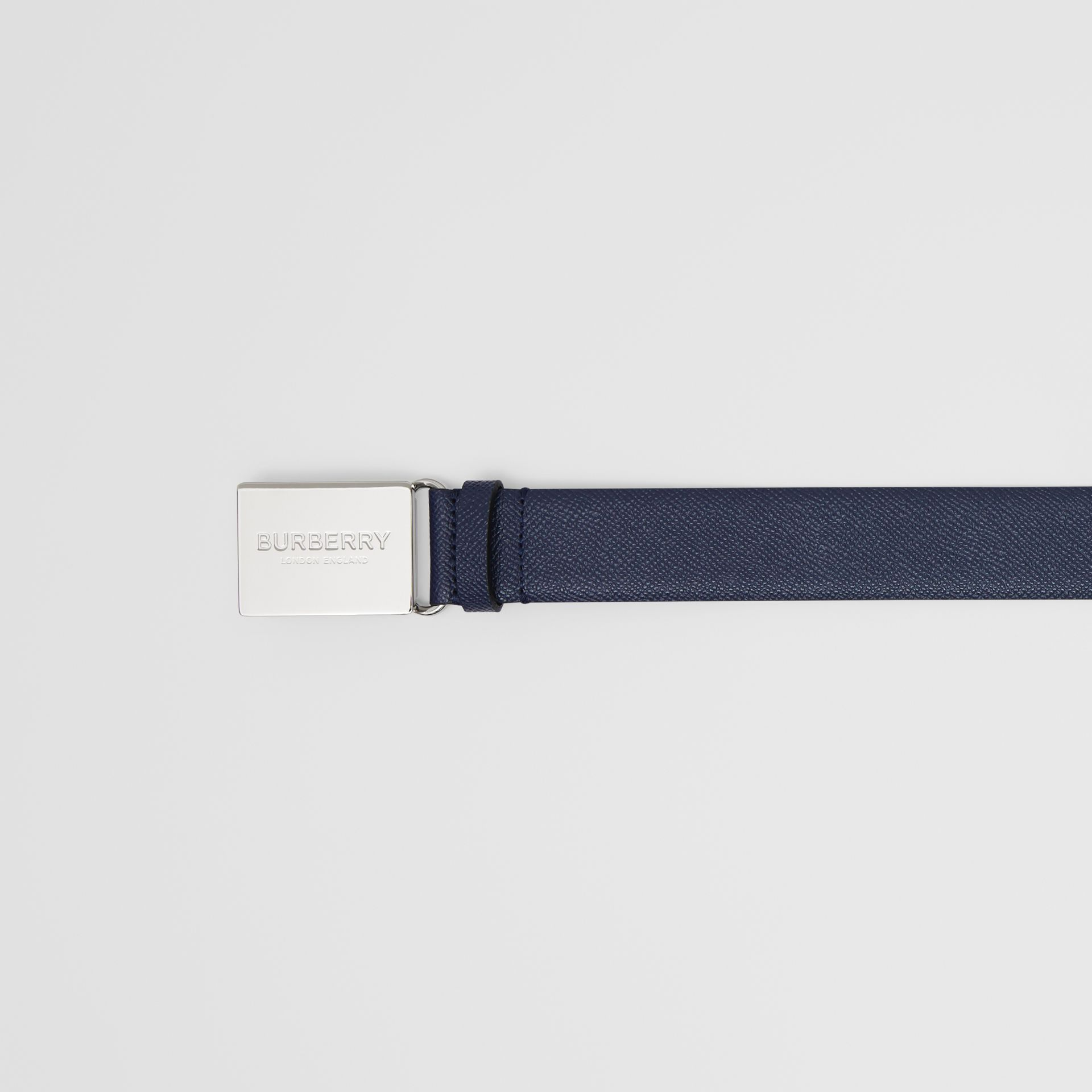 Plaque Buckle Grainy Leather Belt in Navy - Men | Burberry - gallery image 1