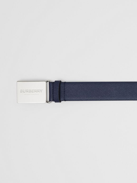 Plaque Buckle Grainy Leather Belt in Navy - Men | Burberry - cell image 1
