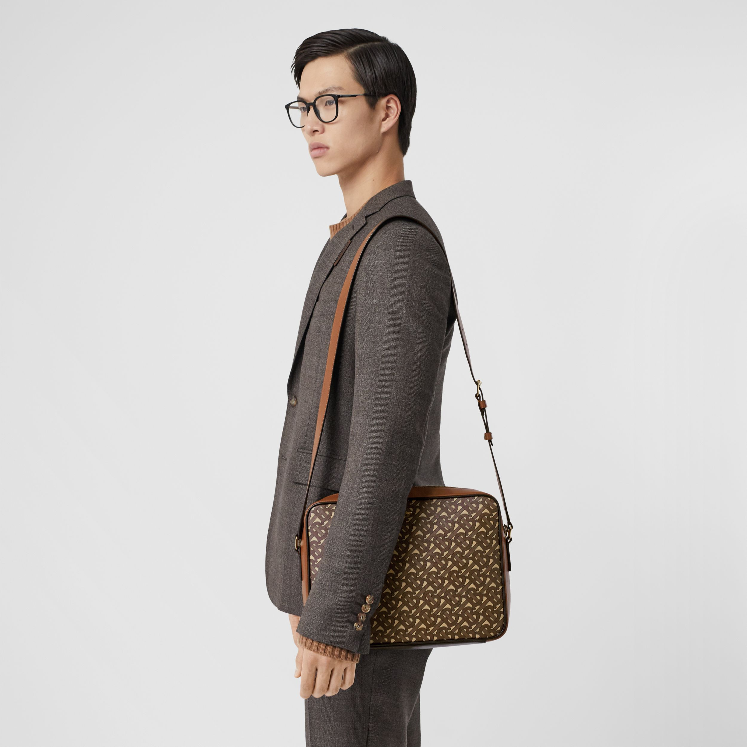 Monogram Print E-canvas Messenger Bag in Bridle Brown - Men | Burberry Canada - 3
