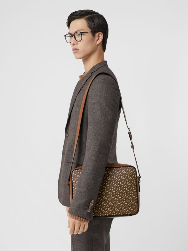 Monogram Print E-canvas Messenger Bag in Bridle Brown - Men | Burberry United States - cell image 2
