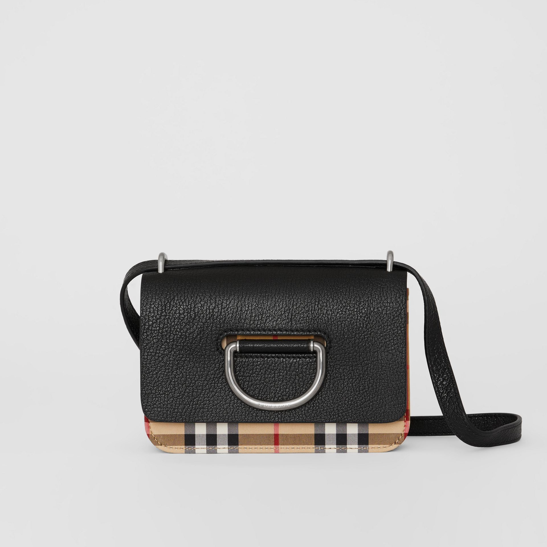 The Mini Vintage Check and Leather D-ring Bag in Black - Women | Burberry Canada - gallery image 0
