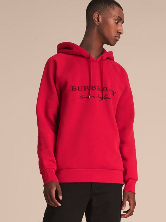 Embroidered Hooded Sweatshirt in Parade Red