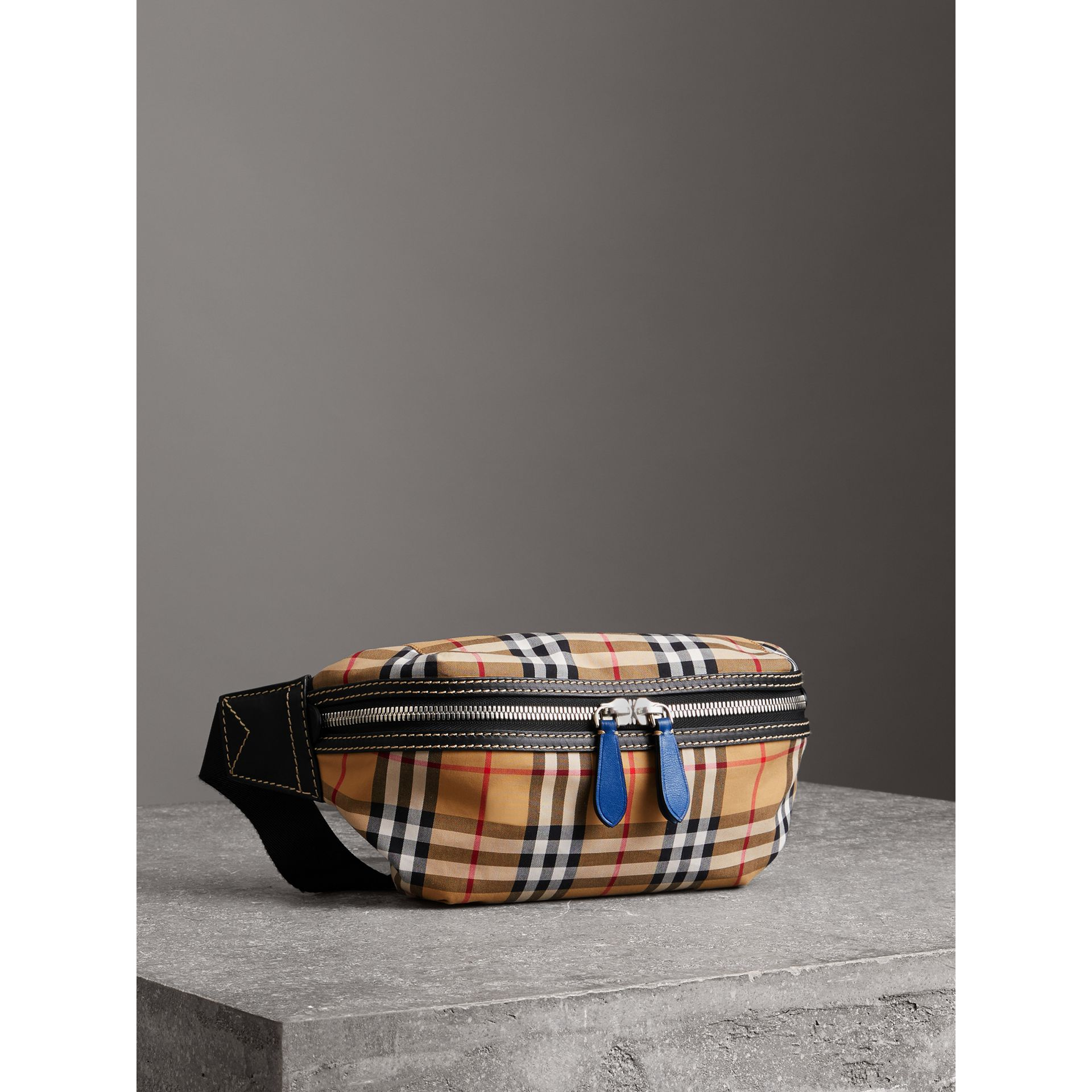 Medium Vintage Check Bum Bag in Canvas Blue - Men | Burberry - gallery image 6