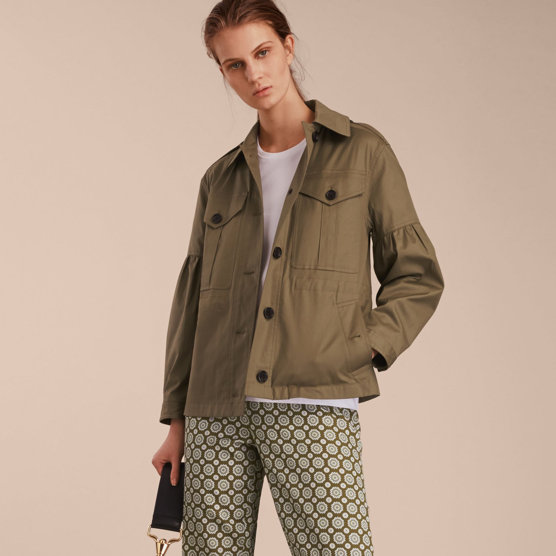 Sage Stretch Cotton Field Jacket with Puff Sleeves - gallery image 6