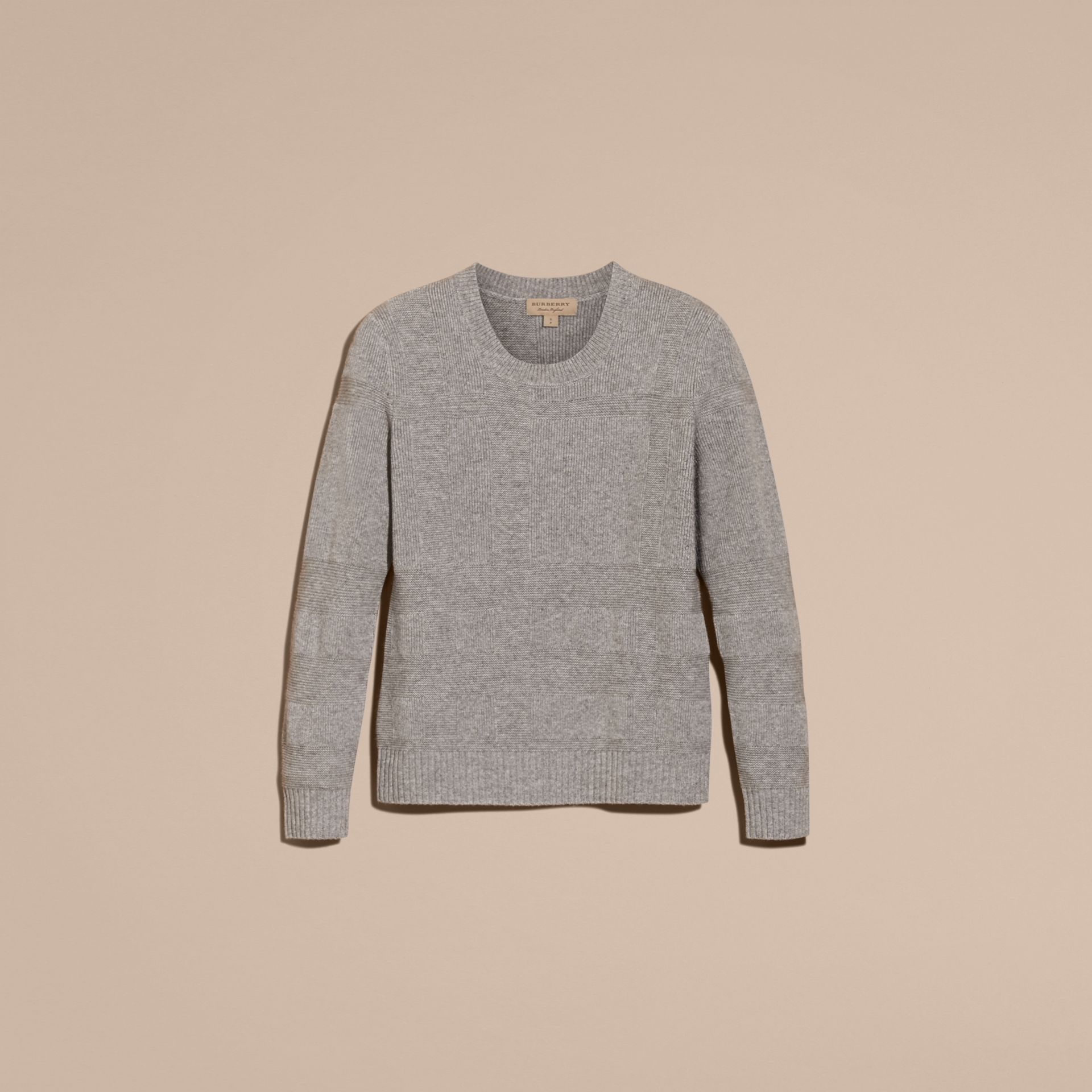 Light grey melange Check-knit Wool Cashmere Sweater Light Grey Melange - gallery image 4