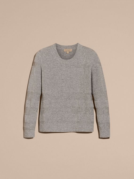 Check-knit Wool Cashmere Sweater Light Grey Melange - cell image 3