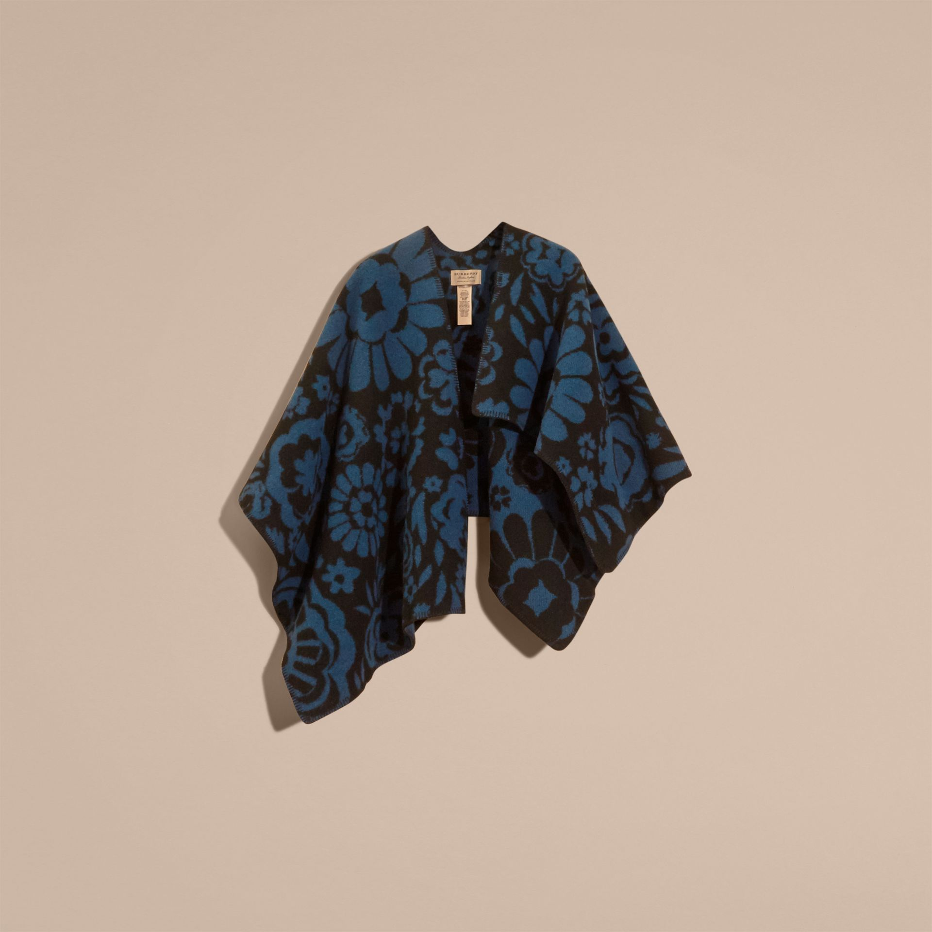 Marine blue Floral Jacquard Wool Cashmere Poncho - gallery image 4