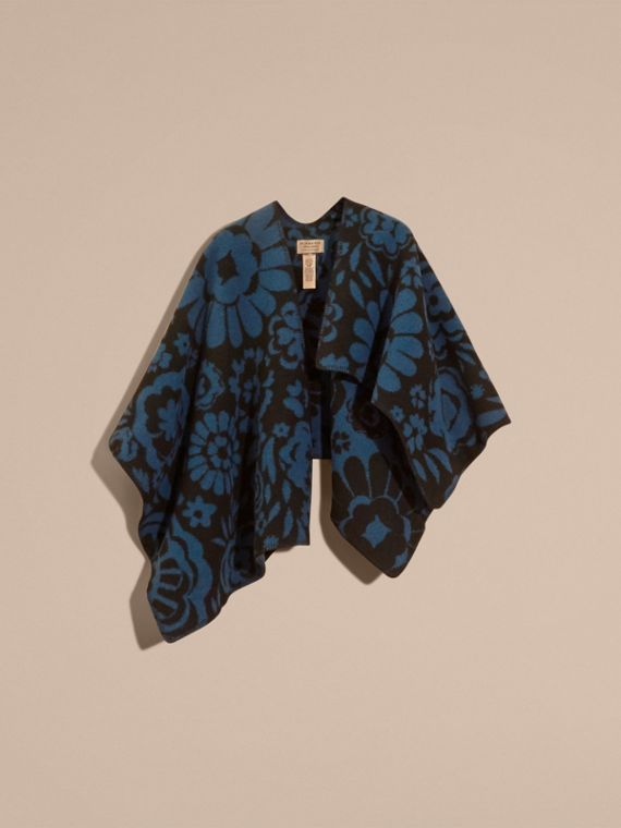 Marine blue Floral Jacquard Wool Cashmere Poncho - cell image 3