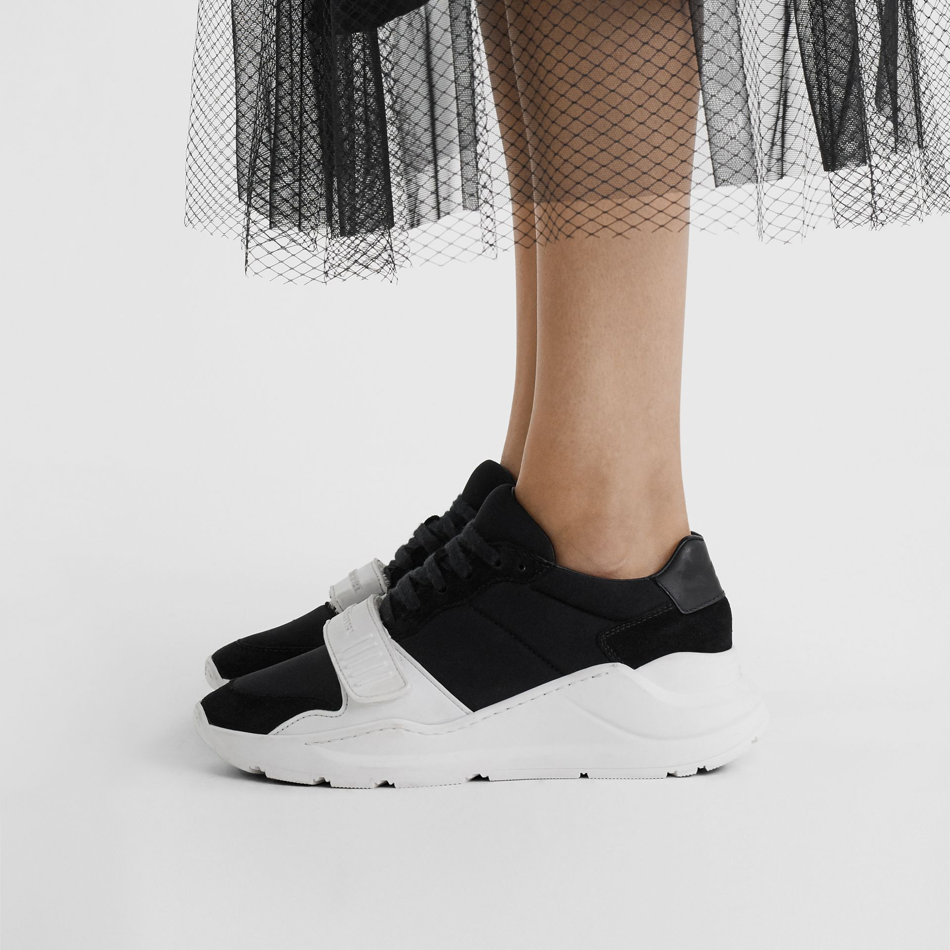 Suede, Neoprene and Leather Sneakers in Black/optic White - Women | Burberry United Kingdom - gallery image 2