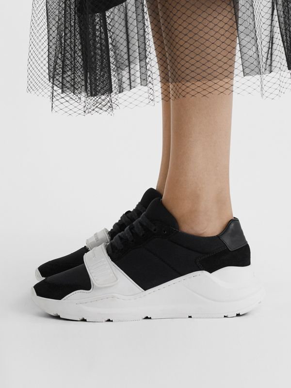 Suede, Neoprene and Leather Sneakers in Black/optic White - Women | Burberry Hong Kong - cell image 2