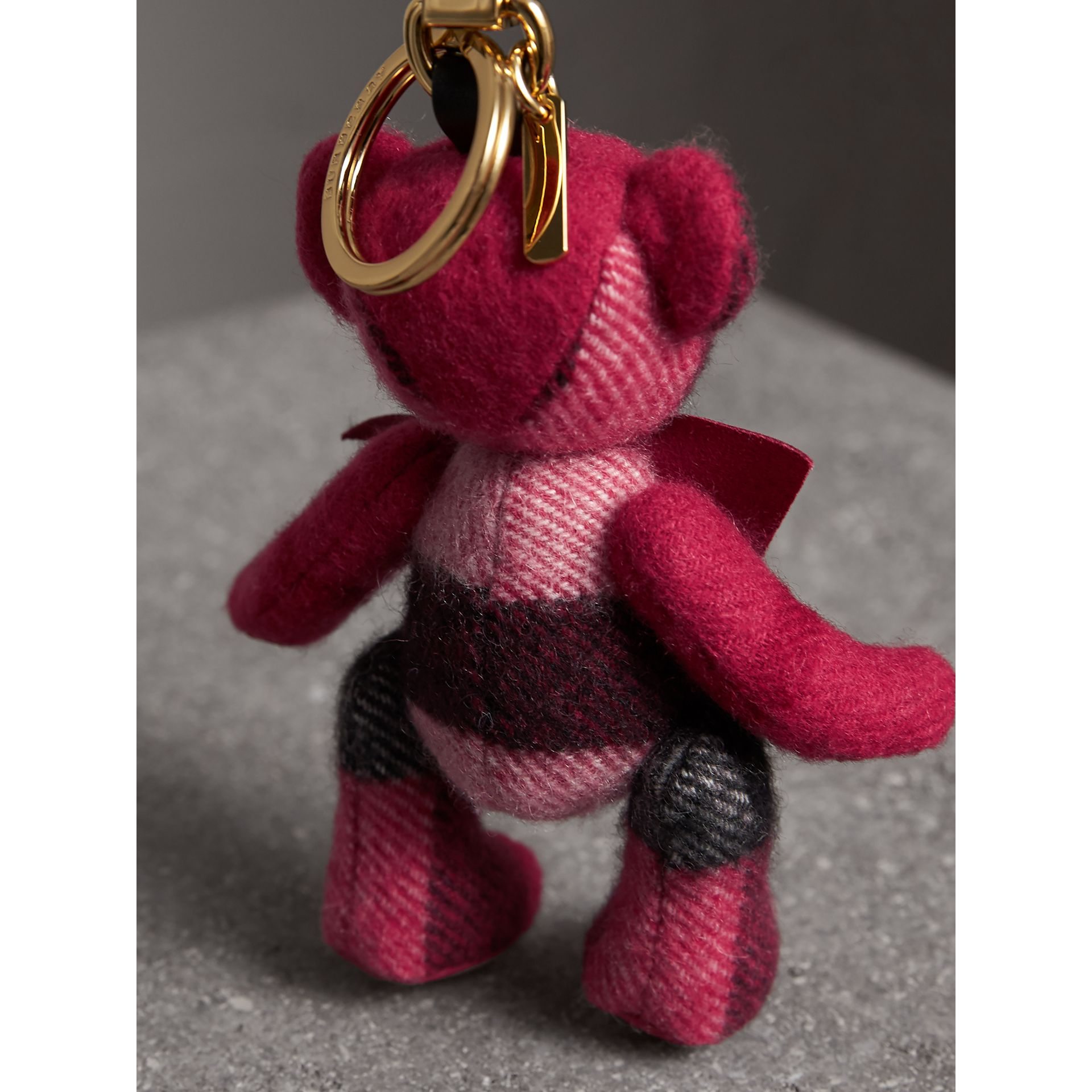 Thomas Bear Charm in Check Cashmere in Fuchsia Pink | Burberry Canada - gallery image 3