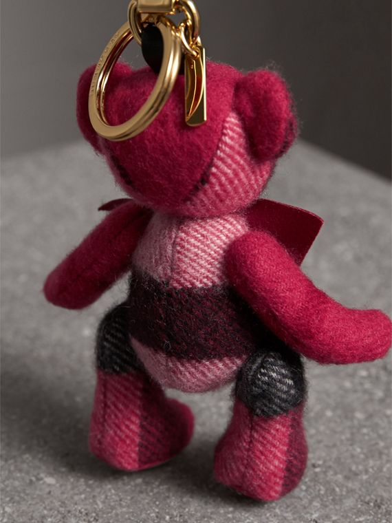 Thomas Bear Charm in Check Cashmere in Fuchsia Pink | Burberry - cell image 3