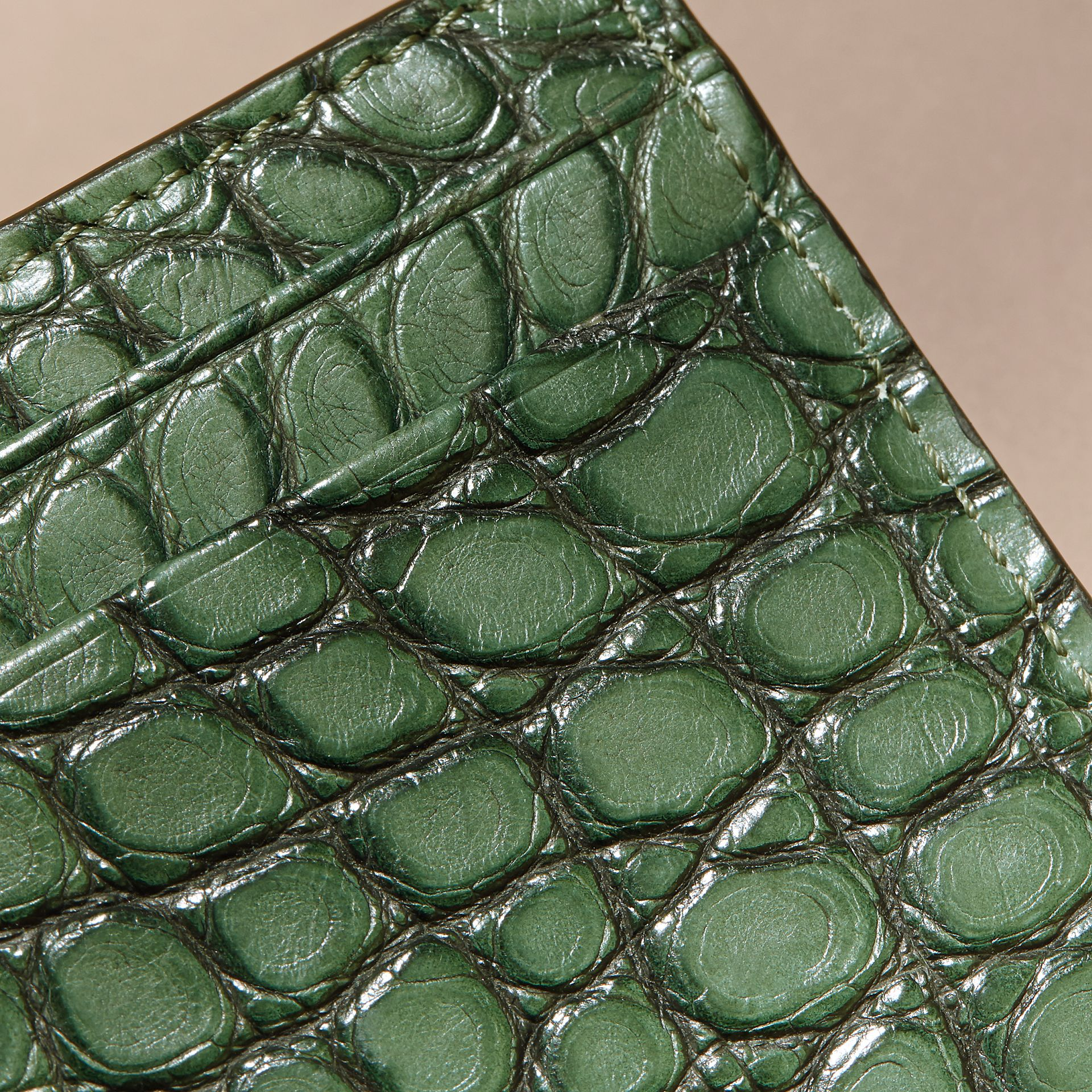 Sage Alligator Leather Card Case - gallery image 2