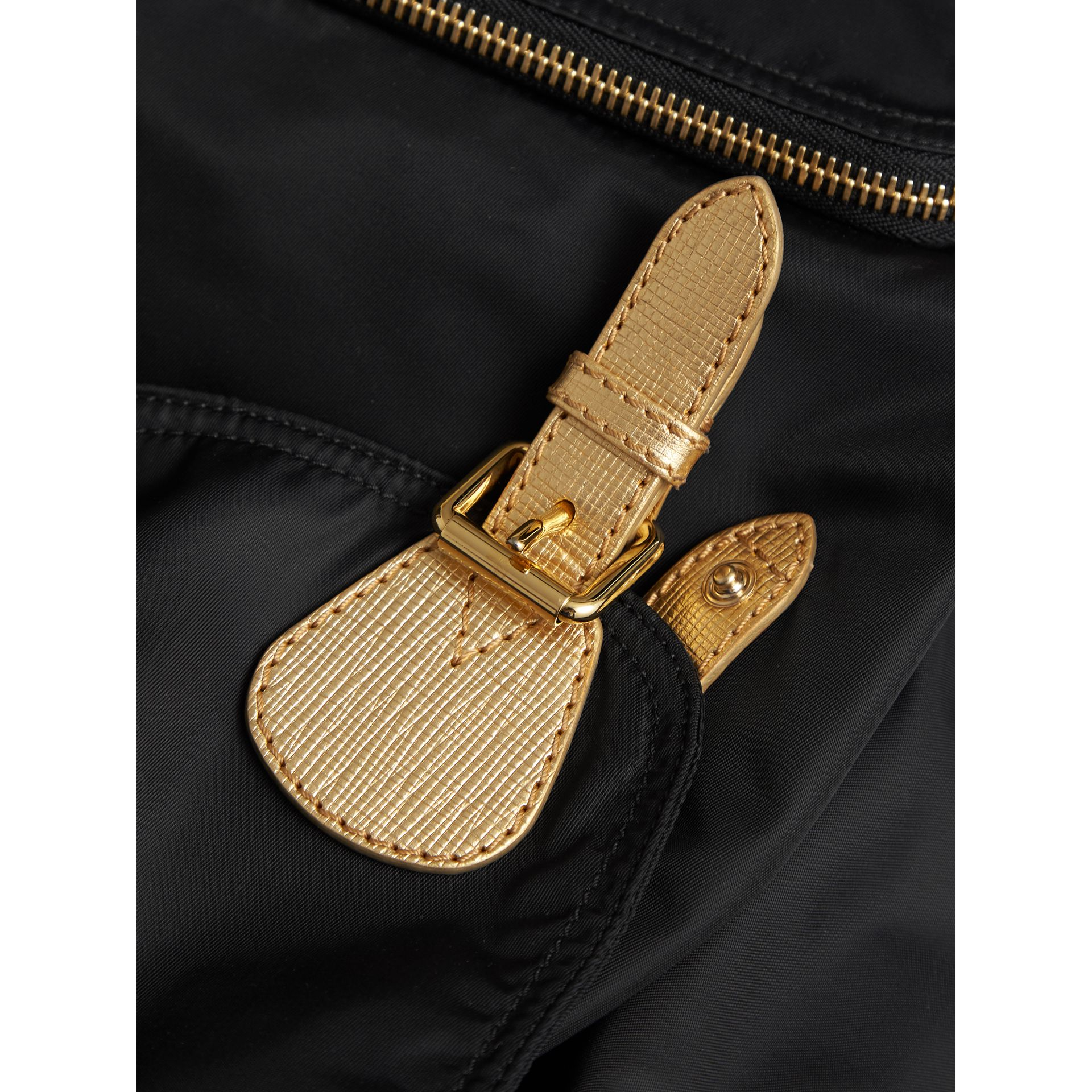 The Large Rucksack in Technical Nylon and Leather in Black/gold - Women | Burberry - gallery image 7
