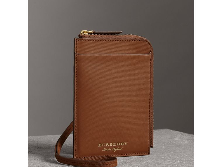 Trench Leather Ziparound Passport Holder in Tan | Burberry - cell image 4