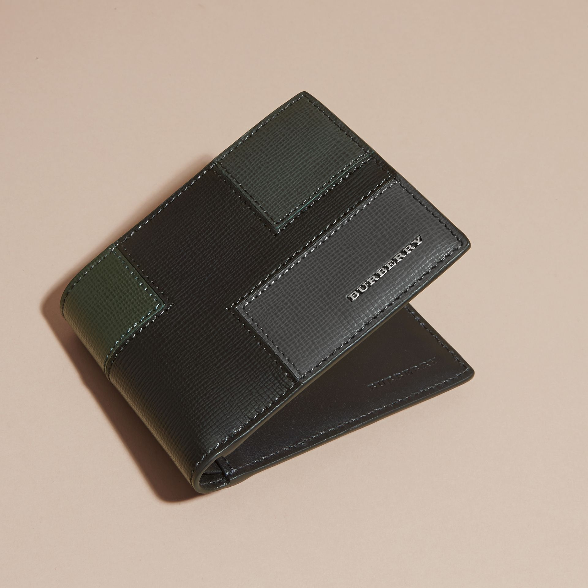 Black Colour Block London Leather Folding Wallet Black - gallery image 3