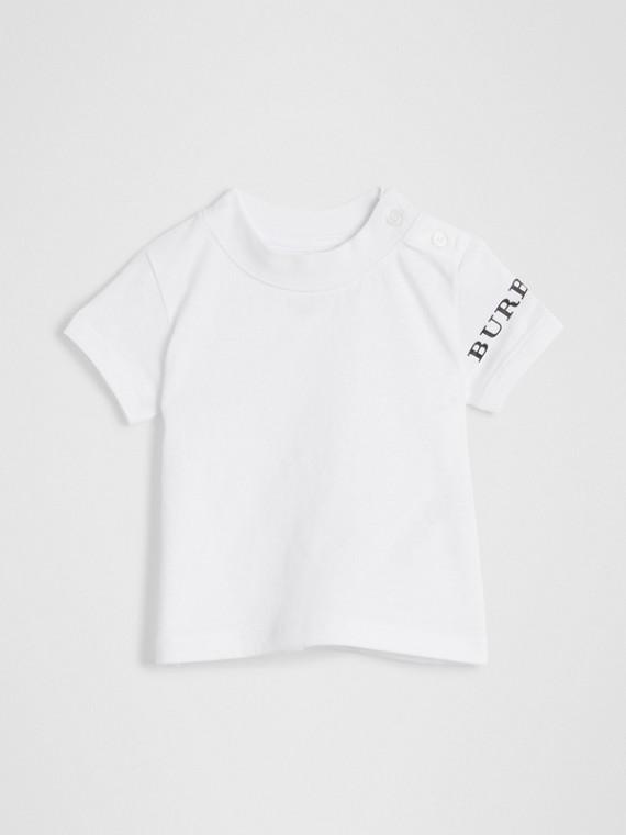 徽標印花棉質 T 恤 (白色)