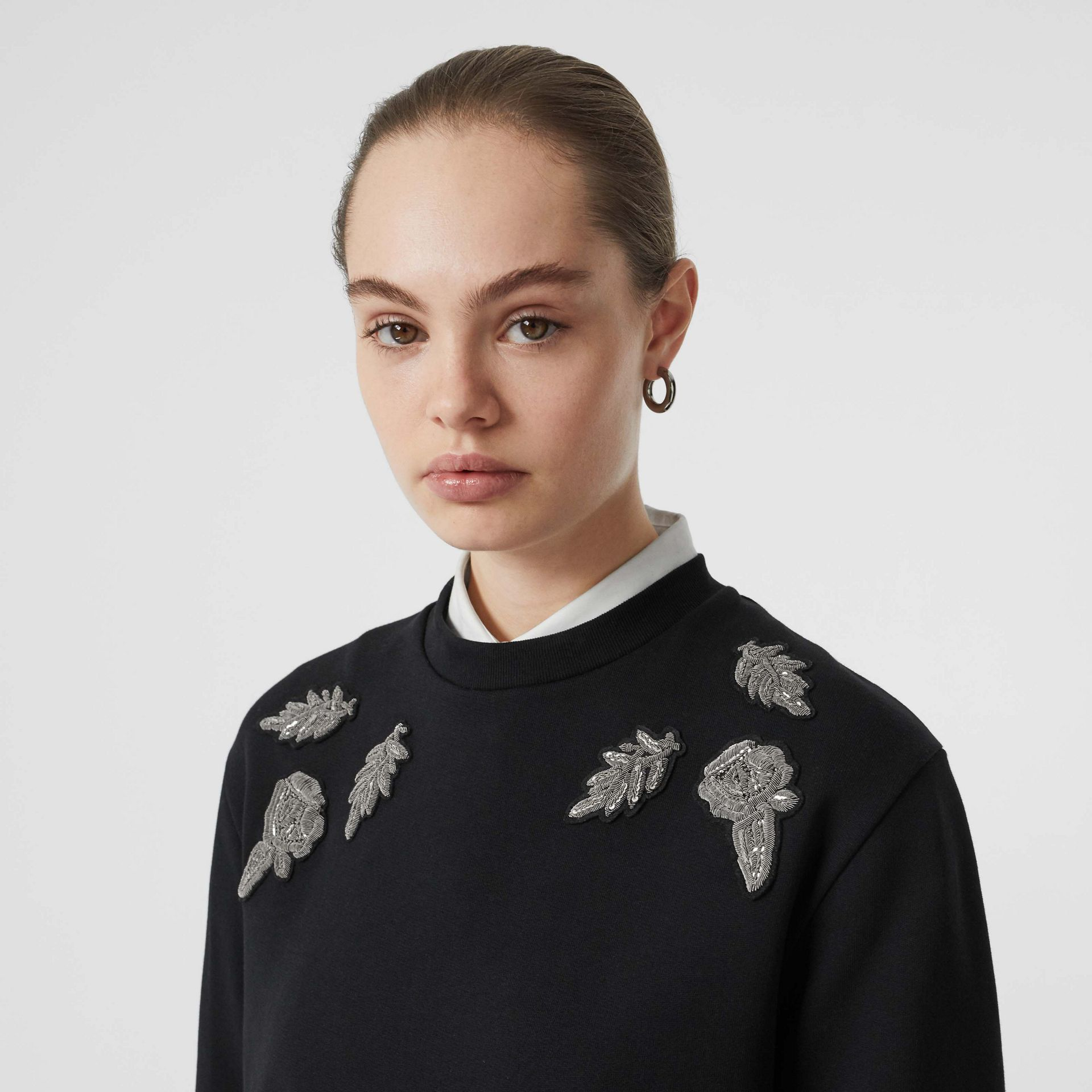 Bullion Floral Cotton Blend Sweatshirt in Black - Women | Burberry - gallery image 1