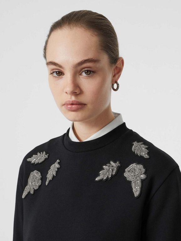 Bullion Floral Cotton Blend Sweatshirt in Black - Women | Burberry - cell image 1