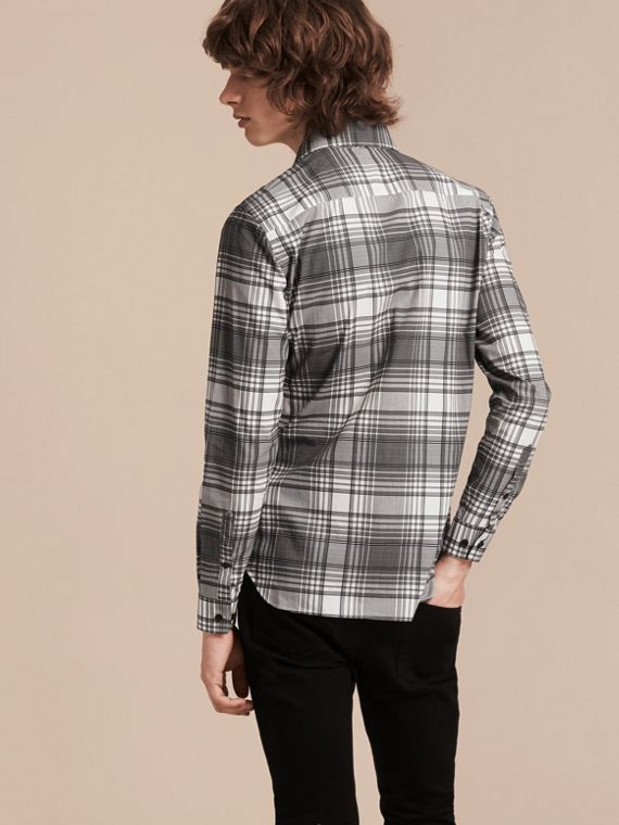 White Check Lightweight Cotton Silk Shirt White - cell image 2