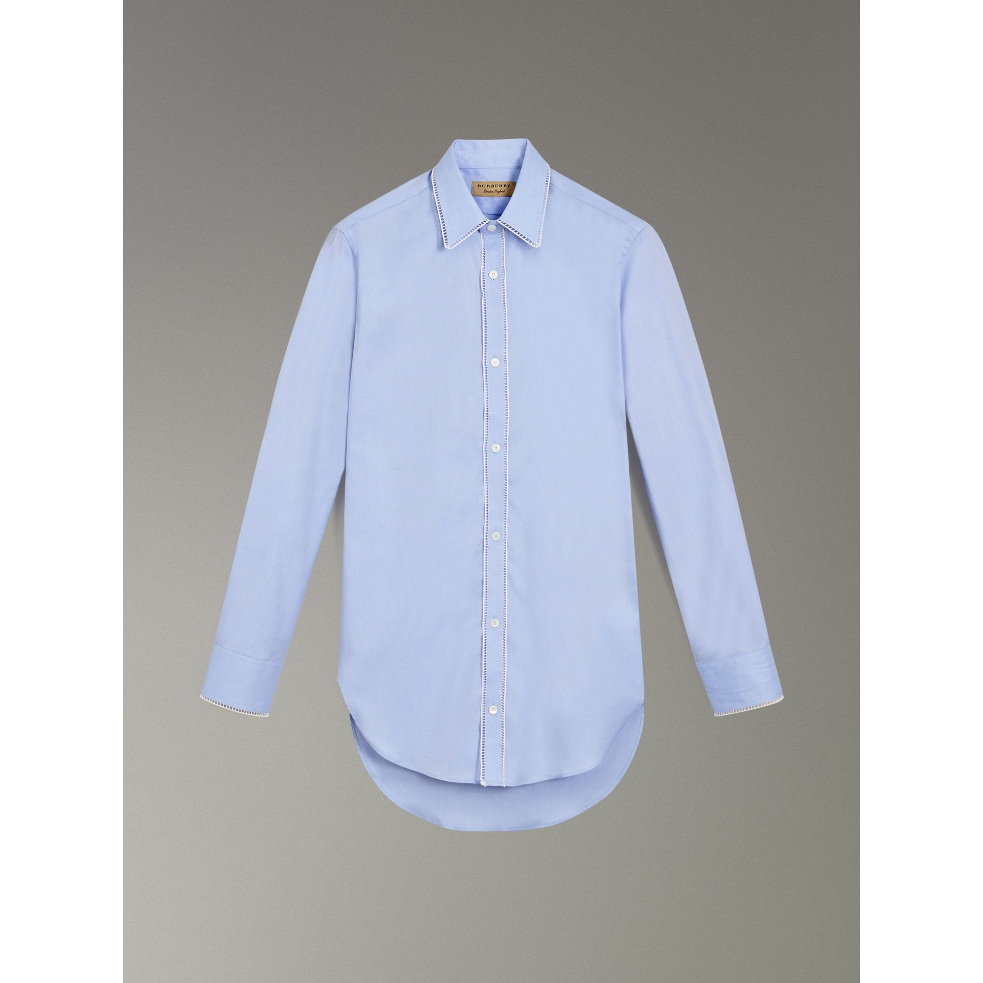 Embroidered Trim Cotton Oxford Shirt in Mid Blue - Men | Burberry United Kingdom - gallery image 3