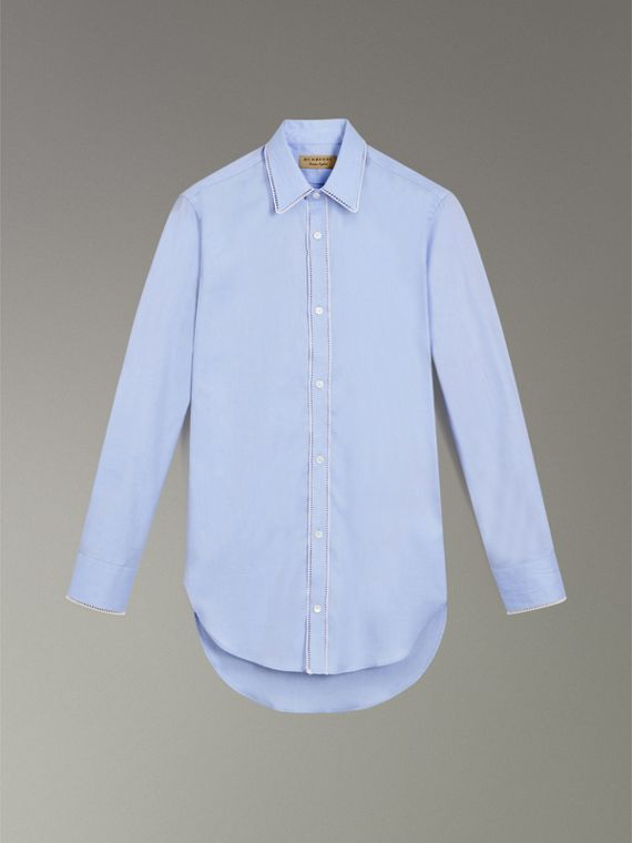 Embroidered Trim Cotton Oxford Shirt in Mid Blue - Men | Burberry - cell image 3