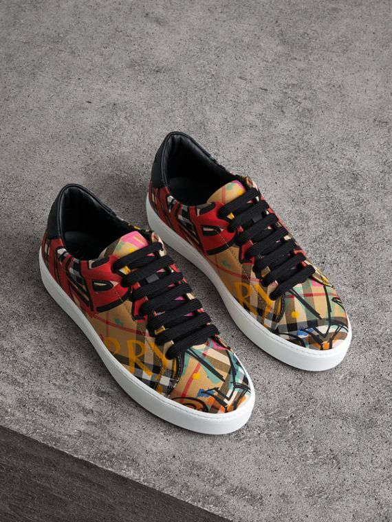 Graffiti Print Vintage Check Sneakers in Antique Yellow