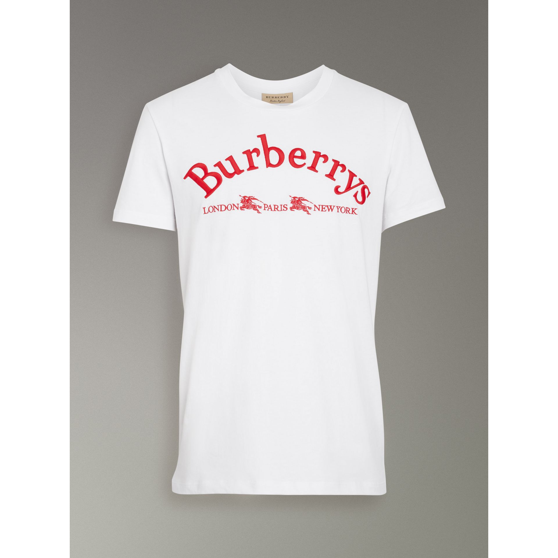 Archive Logo Cotton T-shirt in White - Men | Burberry - gallery image 3