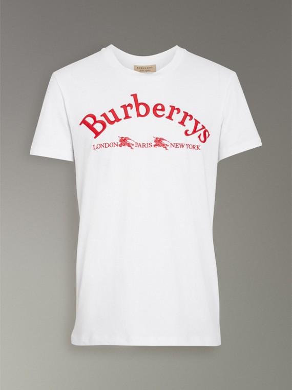 Camiseta de algodão com logo do acervo (Branco) - Homens | Burberry - cell image 3