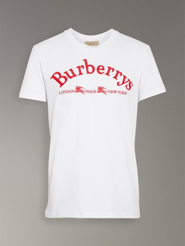 Archive Logo Cotton T-shirt in White - Men | Burberry - cell image 3
