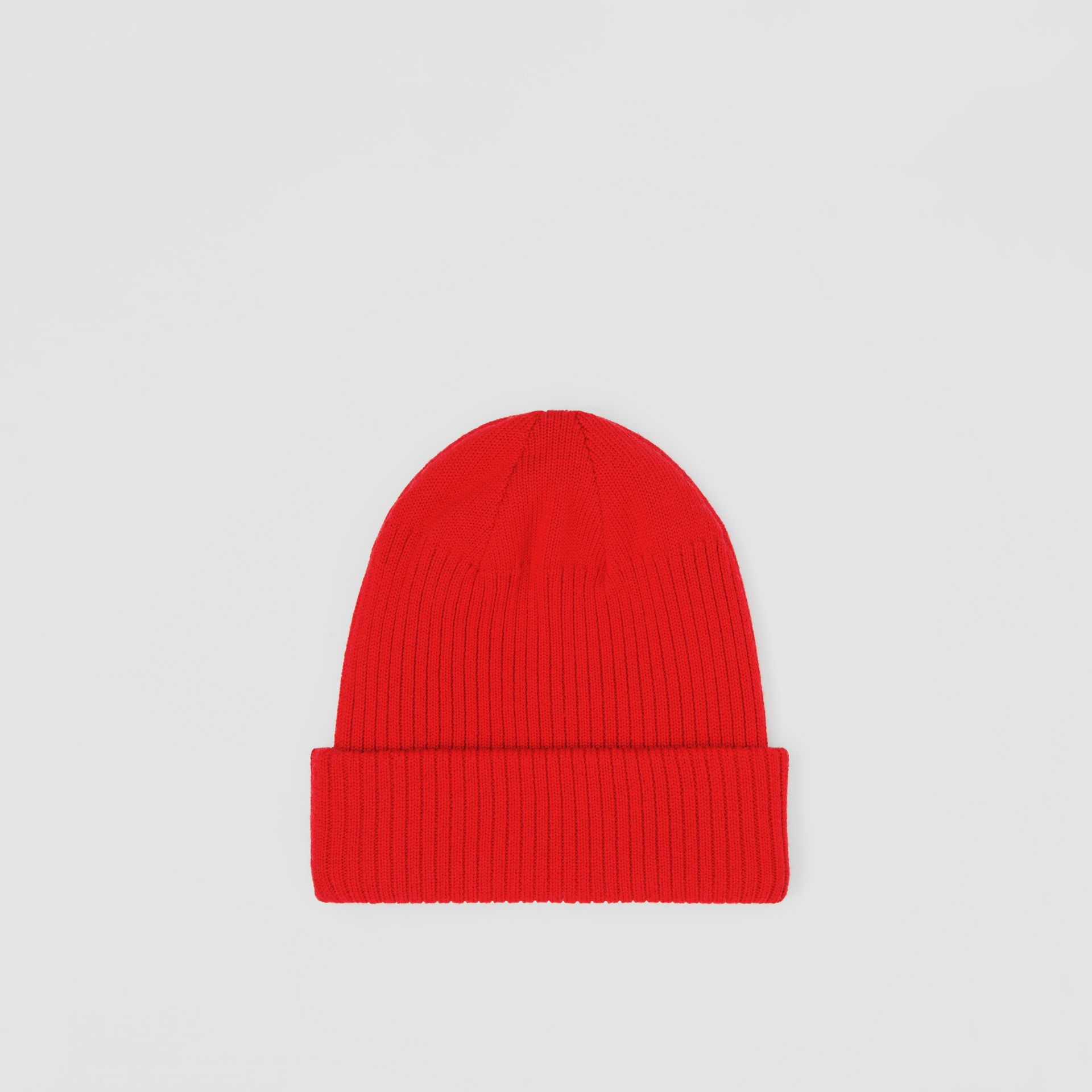 Logo Detail Rib Knit Merino Wool Beanie in Bright Red - Children | Burberry United Kingdom - gallery image 3