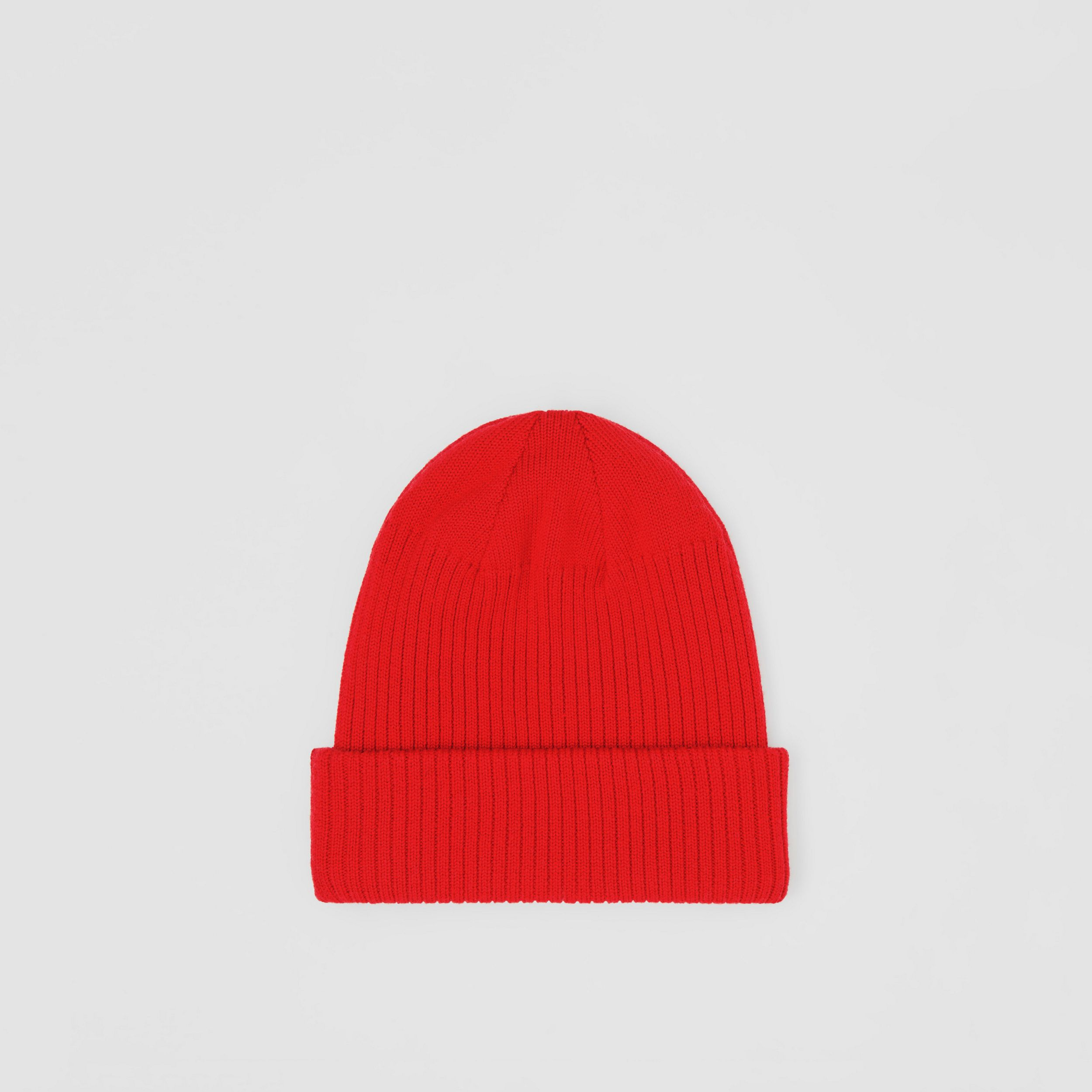Logo Detail Rib Knit Merino Wool Beanie in Bright Red | Burberry Australia - 4