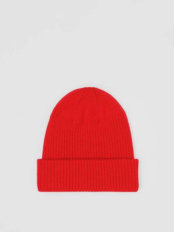Logo Detail Rib Knit Merino Wool Beanie in Bright Red - Children | Burberry - cell image 3