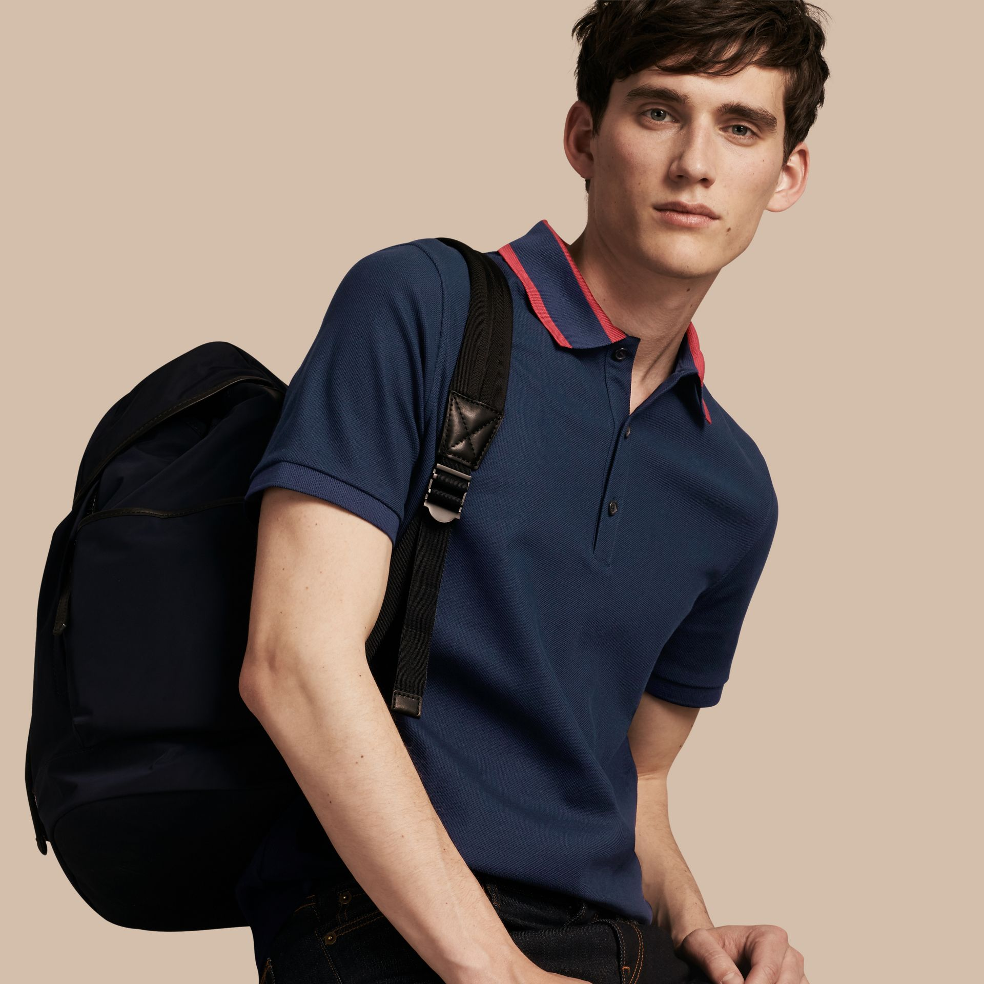 Striped Collar Cotton Piqué Polo Shirt Navy Blue - gallery image 1