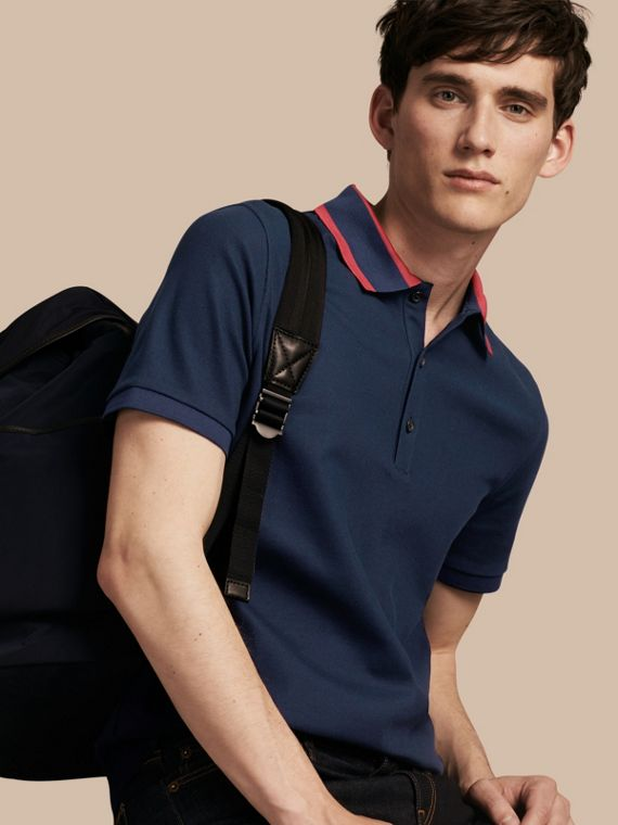 Striped Collar Cotton Piqué Polo Shirt Navy Blue
