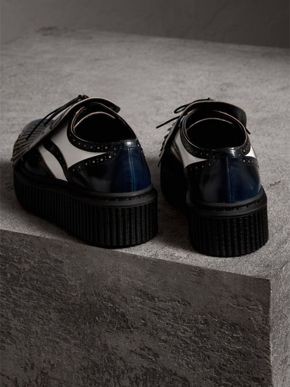 Two-tone Lace-up Kiltie Fringe Leather Shoes in Navy Blue - Women | Burberry - cell image 2