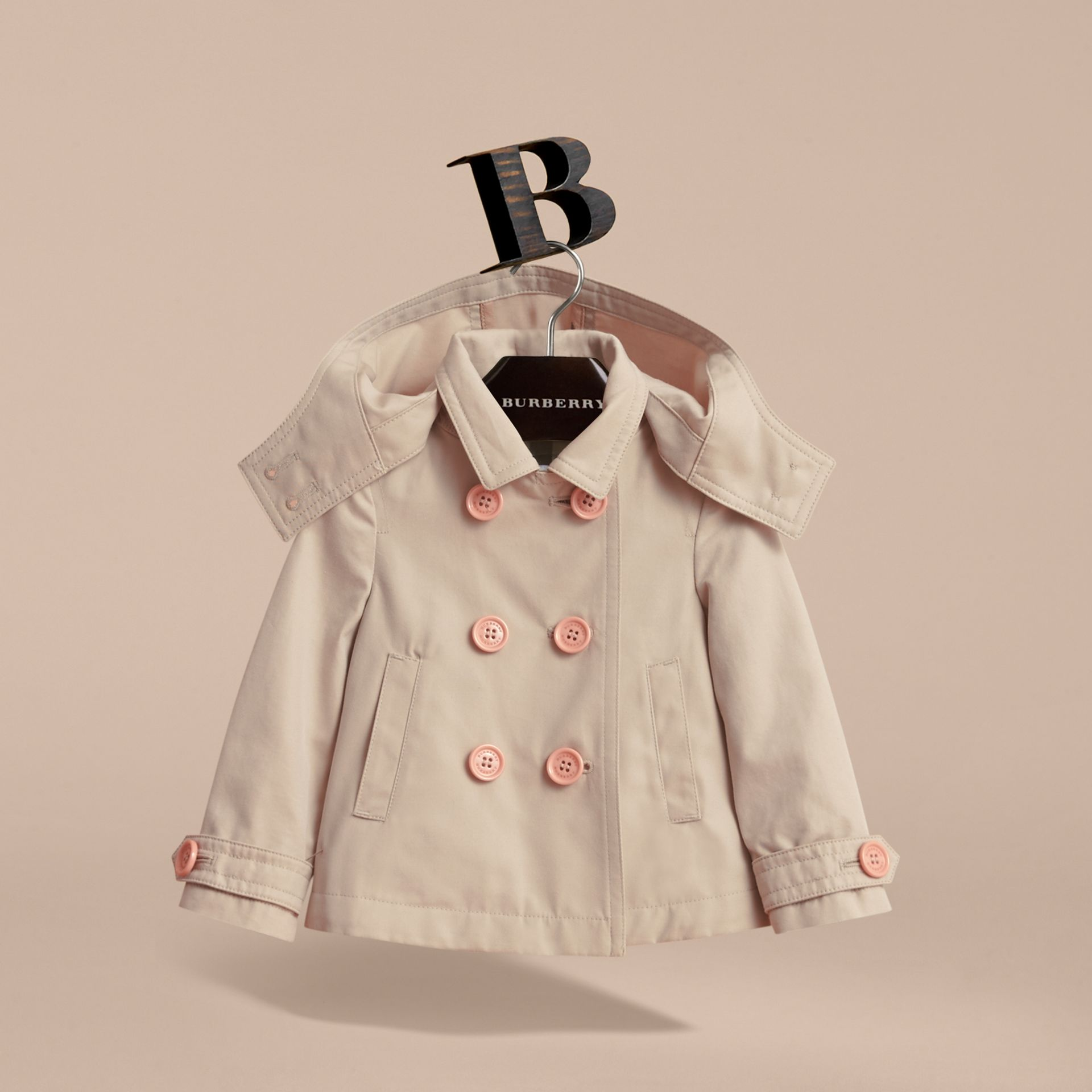 Resin Button Cotton A-line Jacket  with Detachable Hood in Stone | Burberry - gallery image 3