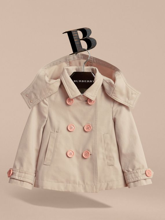 Resin Button Cotton A-line Jacket  with Detachable Hood in Stone | Burberry - cell image 2