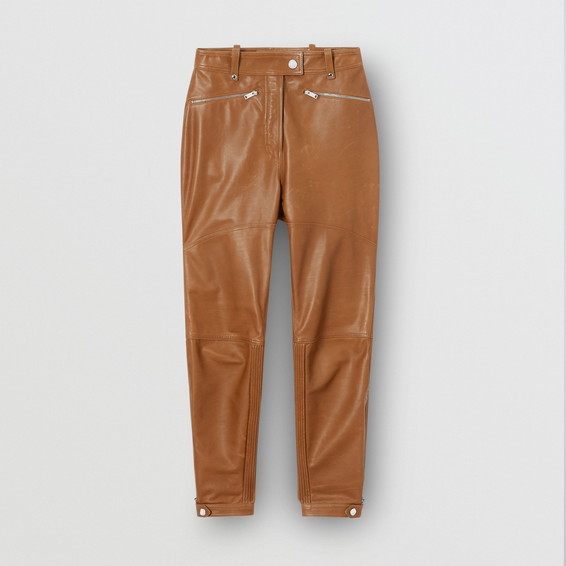 Biker Leather Trousers in Brown - Women | Burberry - gallery image 3